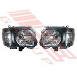 HEADLAMP SET - L&R - BLACK - TO SUIT TOYOTA HIACE 2014-