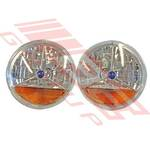 "H/LAMP SET - Crystal Rnd 7"" Amber/Blue - UNIVERSAL SET - CLEAR LENS"